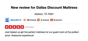 Dallas Discount Mattress Yelp Review
